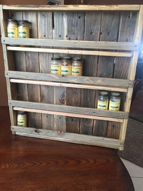 Large Spice Rack  Pallet Spice Rack  Holds 45 48 Spices  Rustic Spice