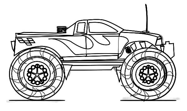Coloring monster truck outline in 2020 | Monster trucks ...