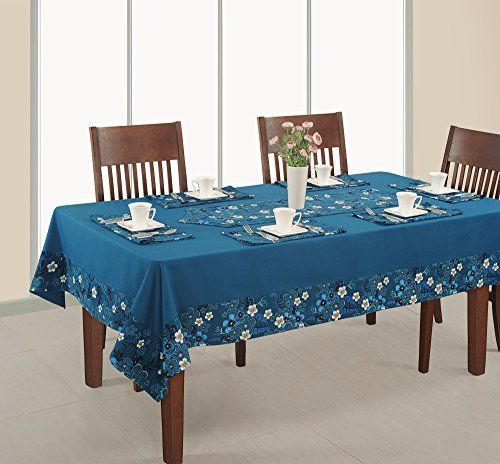 Rectangular Table Cover 60x102 Inchprinted And Solid Rdsxl1416spblue100 Duck Cotton You Can Get More Details By C Dining Table Table Cloth Round Dining Table