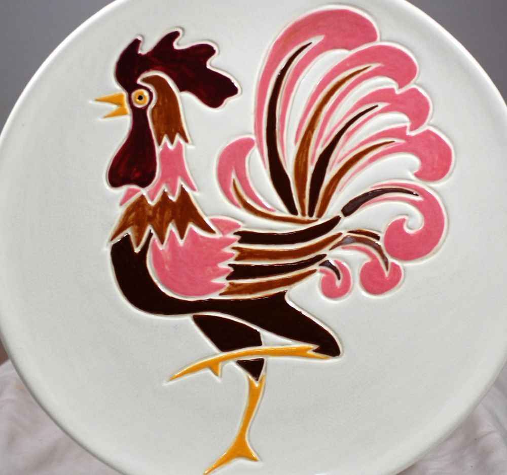 Vintage Studio Art Hand Painted Rooster Decorative Plate Kitchen Decor & Vintage Studio Art Hand Painted Rooster Decorative Plate Kitchen ...