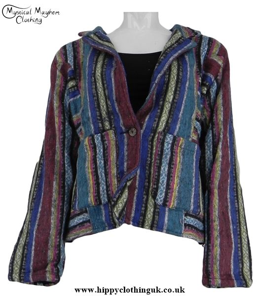 2fc4a3a698f Gringo Short Thick Weave Cotton Hippy Festival Jacket Multicoloured -  Medium Large - Mystical Mayhem Hippy Clothing and Gifts