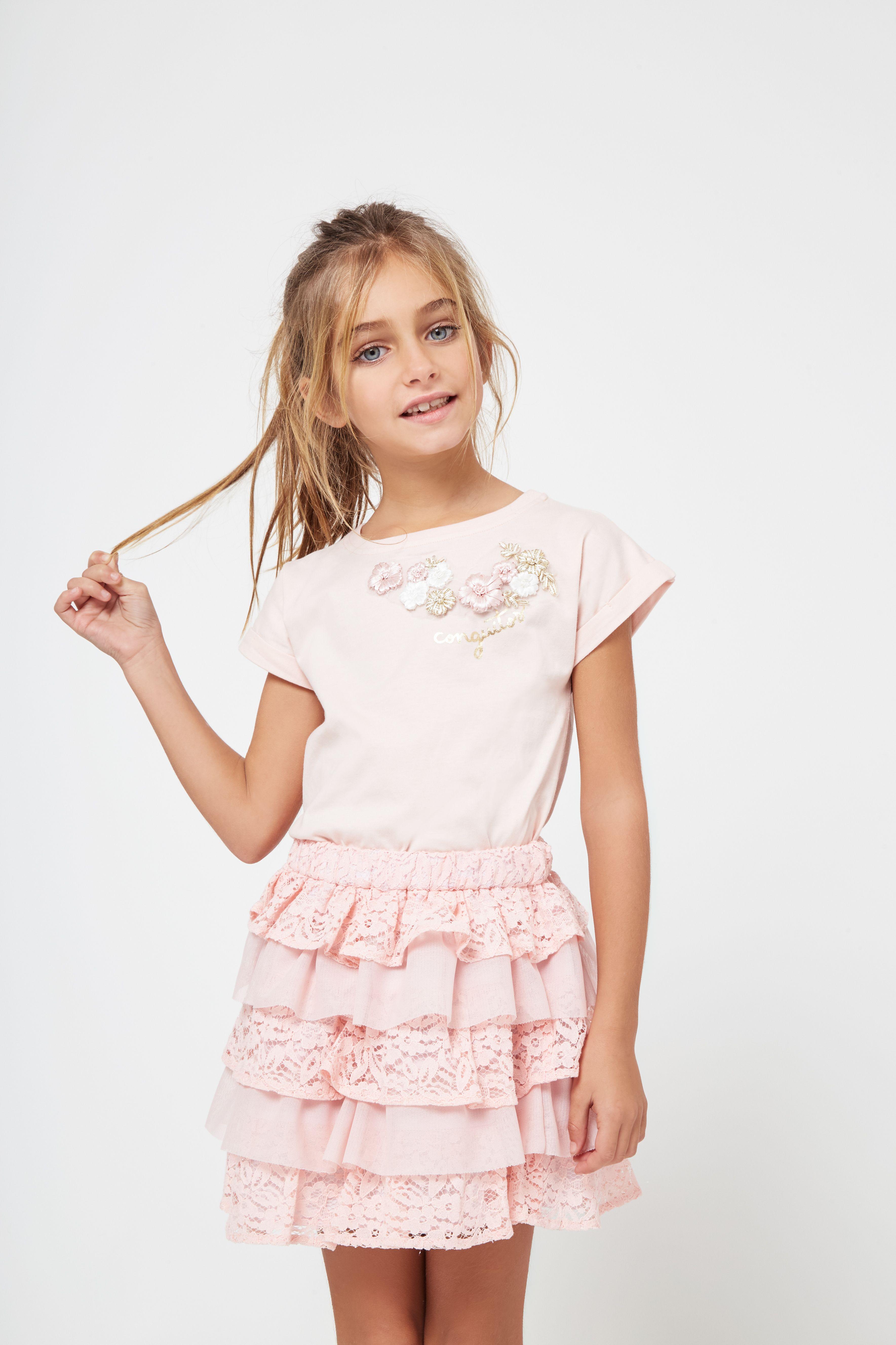 fbbdce775 Falda de Niña Combinada Volantes Rosa - Moda - Niña - Conguitos #modaniña # niña