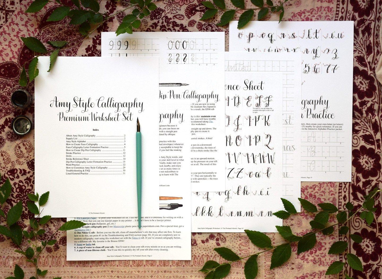 Printable Amy Style Calligraphy Worksheet Set