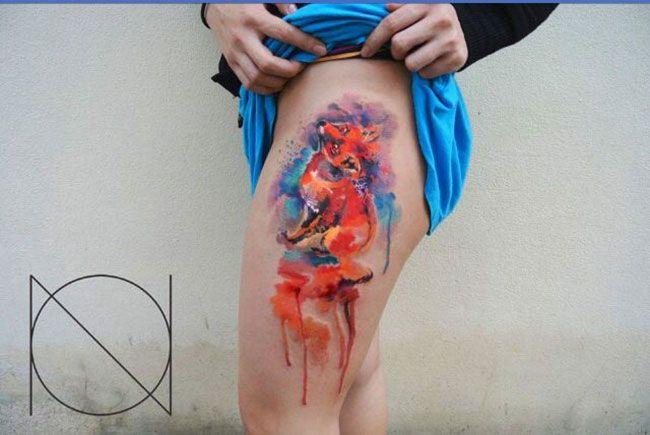 tatouage renard sur la cuisse aquarelle | tatouage animaux