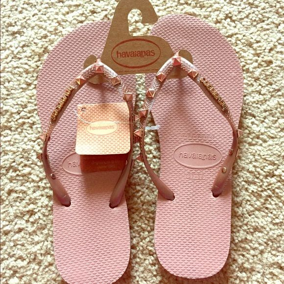1c3e58be0 New Havaiana flip flops Brand new Havaiana flip flops in taupe with rose  gold diamond studs Havaianas Shoes Sandals