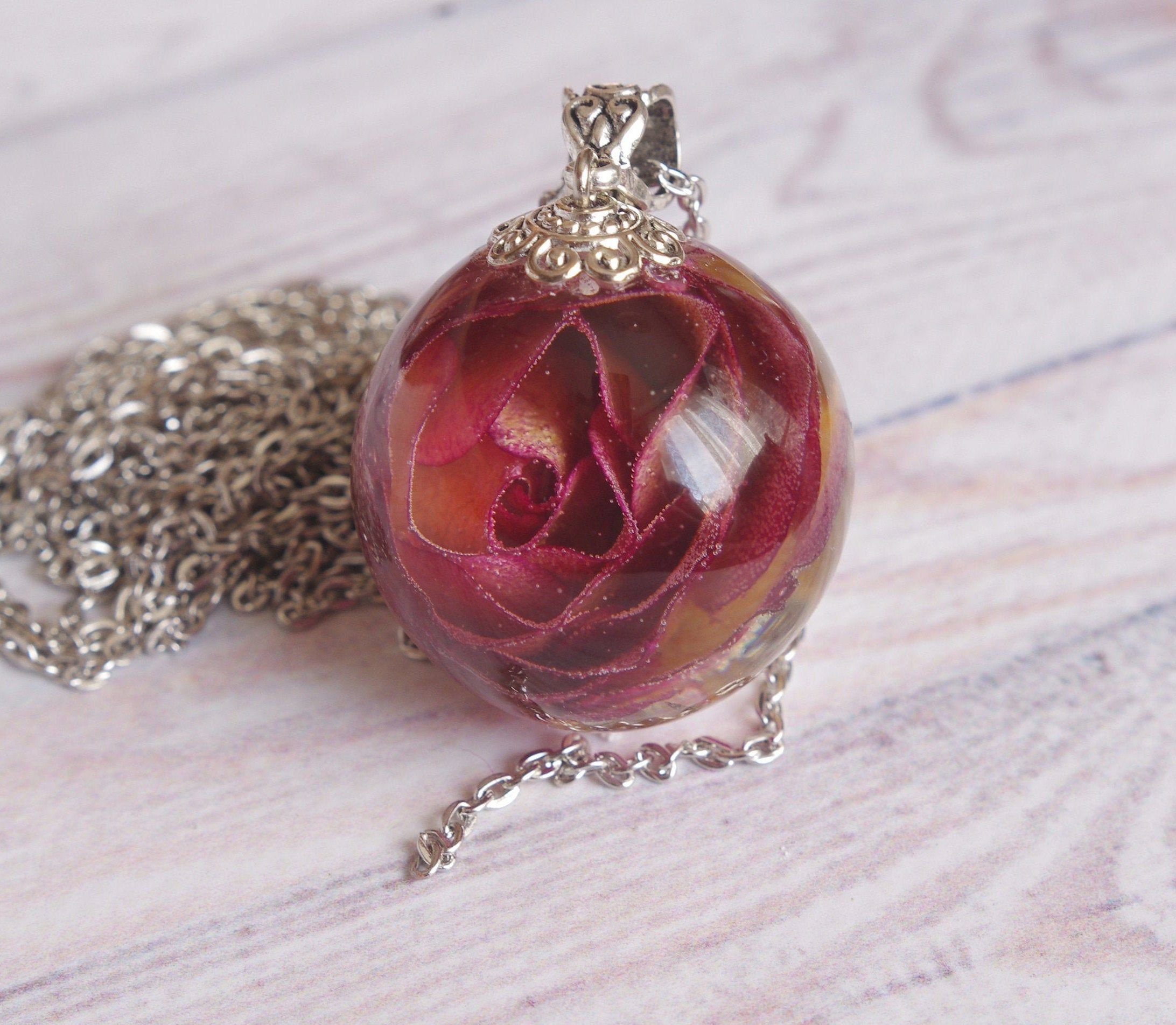 Real Rose Sphere Necklace Nature Resin Ball 1 1 8 Botanical Pendant Dark Pink Rose Jewelry Dried Flower Neckl Flower Resin Jewelry Crystal Resin Rose Necklace