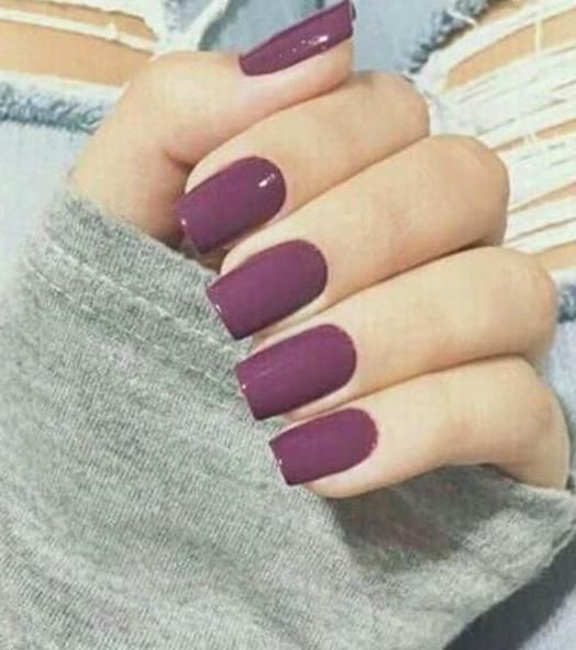 clean look - purple sns nails in 2020 | Simple fall nails ...