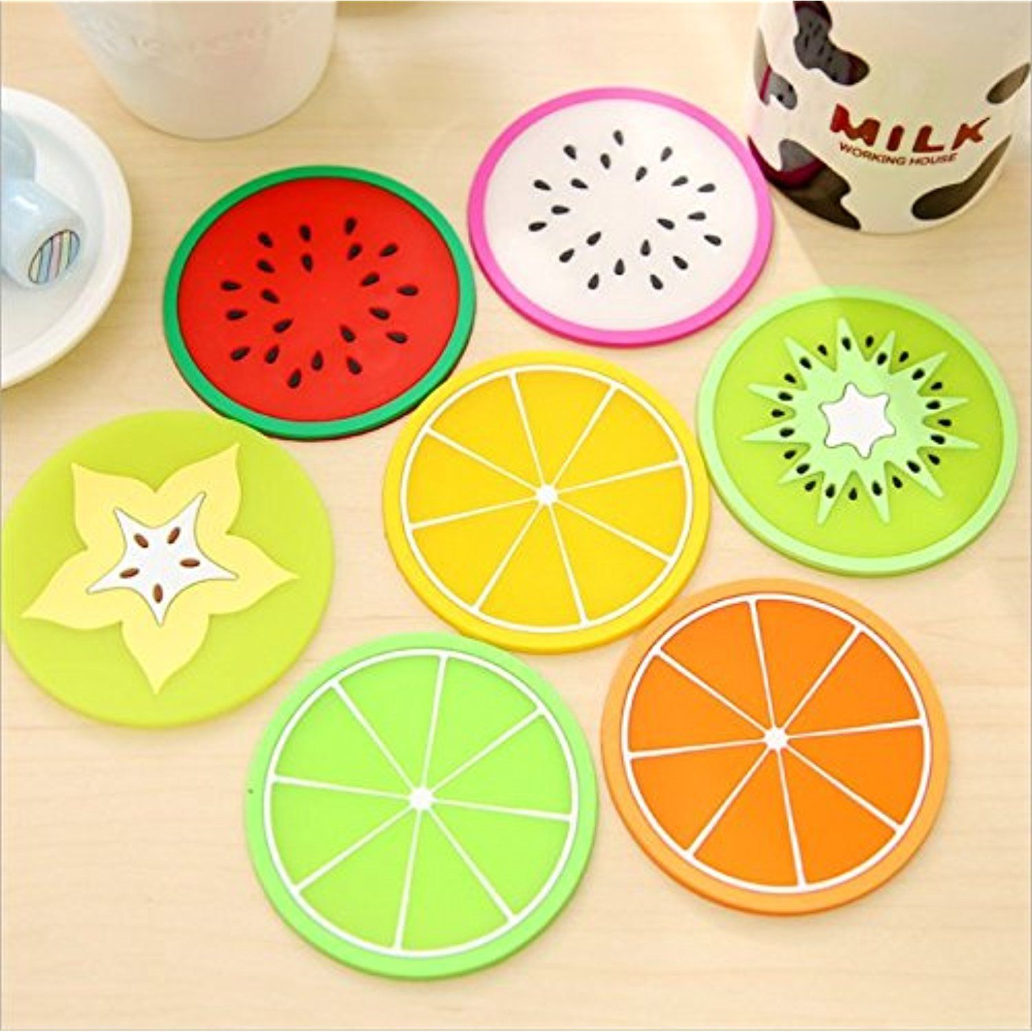 Resistant Fruit Cushion Round Tableware Coasters Coffee Silicone Pad Mat Cup