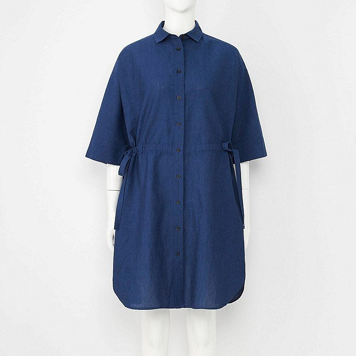 339e1300415 Women linen blend 3 4 sleeve shirt dress