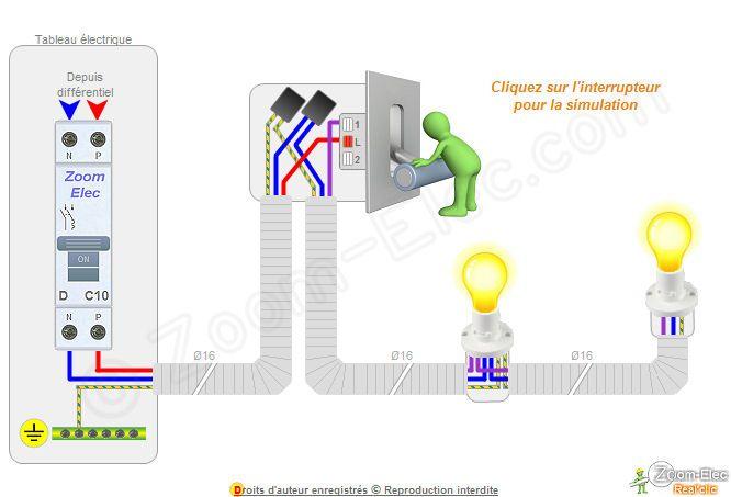 Bien-aimé Branchement et cablage electrique d'un interrupteur simple  NY61
