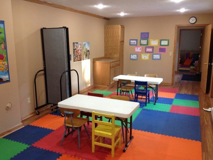 Portable room dividers help manage space in this church preschool
