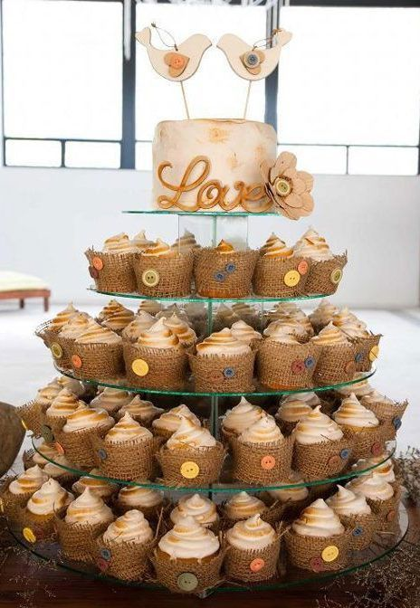 Rustic Wedding Cupcake And Cake Tower With Burlap And Buttons So