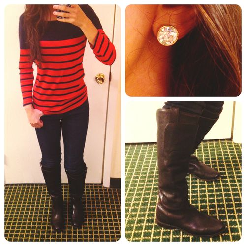 Got a really lame OOTD coming at you guys. J. Crew top, with jeans, boots, and Kate Spade clear studs!