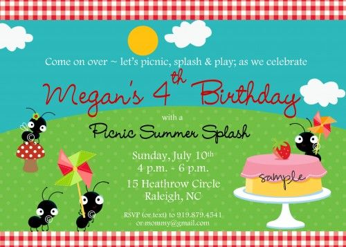 Ant Picnic Themed Personalized Printable Birthday Party Invitation - birthday invitation model