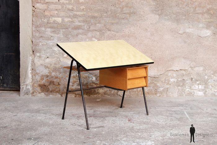 Bureau vintage formica inclinable style j.hitier bureaus