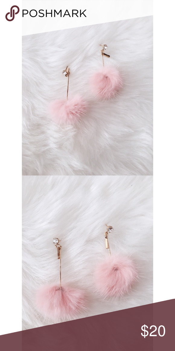aff02828c7107f Pink Puff Pom Pom Drop Earrings New in package. Super cute and trendy. Soft  blush pink puff Pom Pom Drop Earrings with crystal stud. Jewelry Earrings
