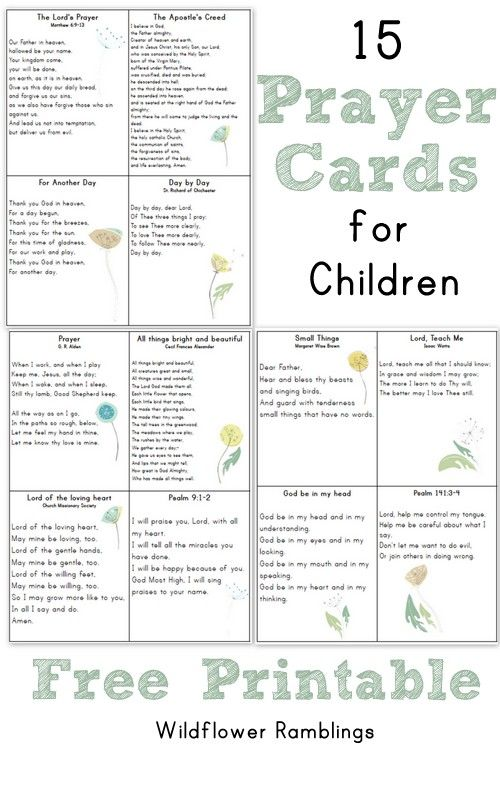 Prayer Cards For Children {free Printable  Prayer Card Template Free