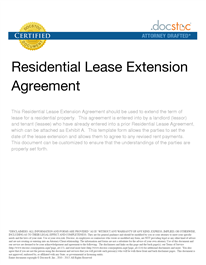 Residential Lease Extension Agreement  Lease