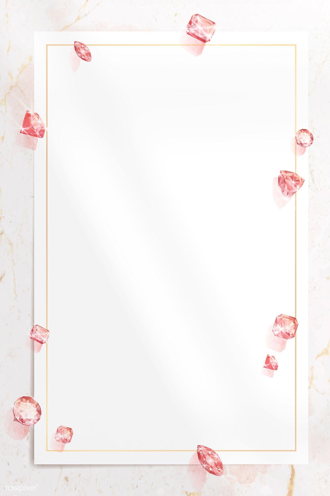 Download Premium Vector Of Pink Crystal Gem Design Vector 1228090 Pink Crystal Flower Background Wallpaper Pink Diamond