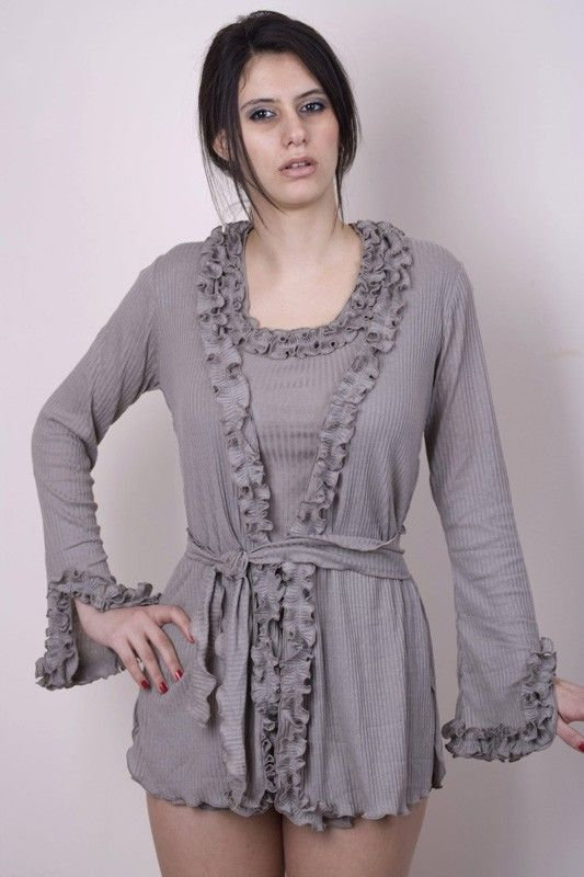 Grey ruffled robe.... I would wear it out with jeans or nice black slacks!
