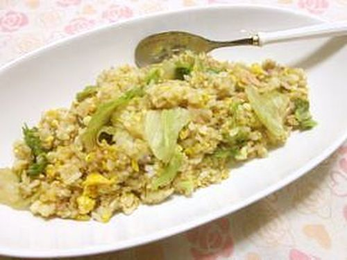 Simple Lettuce Fried Rice Seasoned Wwth Consomme Soup Stock