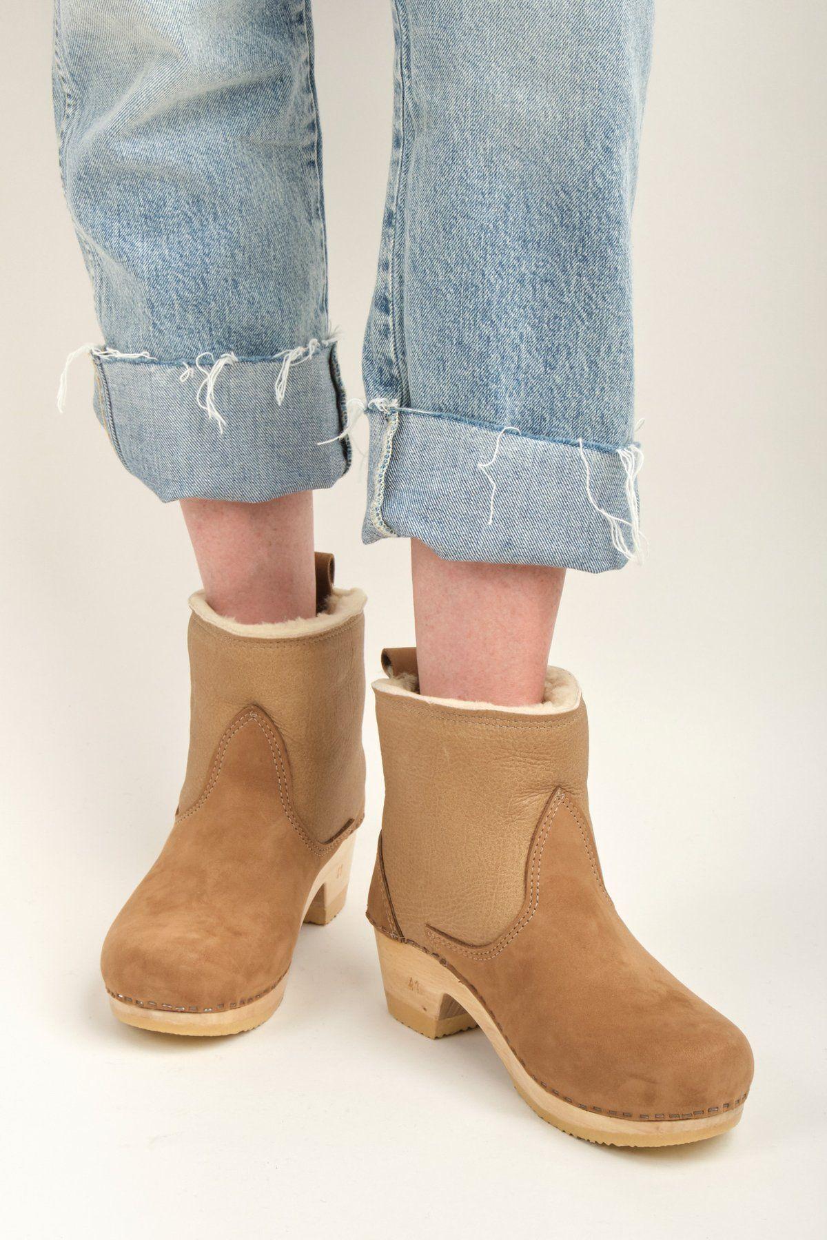 Shearling Clog Boot on Mid Heel