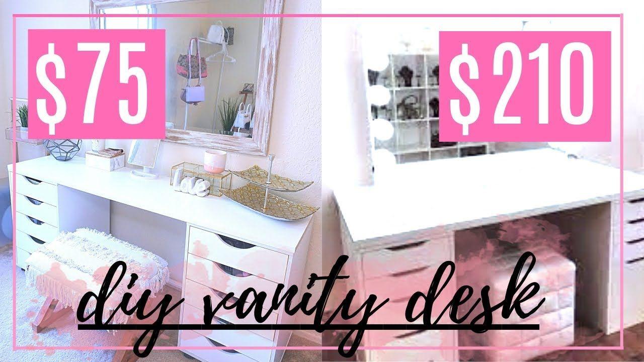 Diy Ikea Vanity Desk Dupe Organization Ideas Youtube Ikea Vanity Ikea Diy Vanity Desk