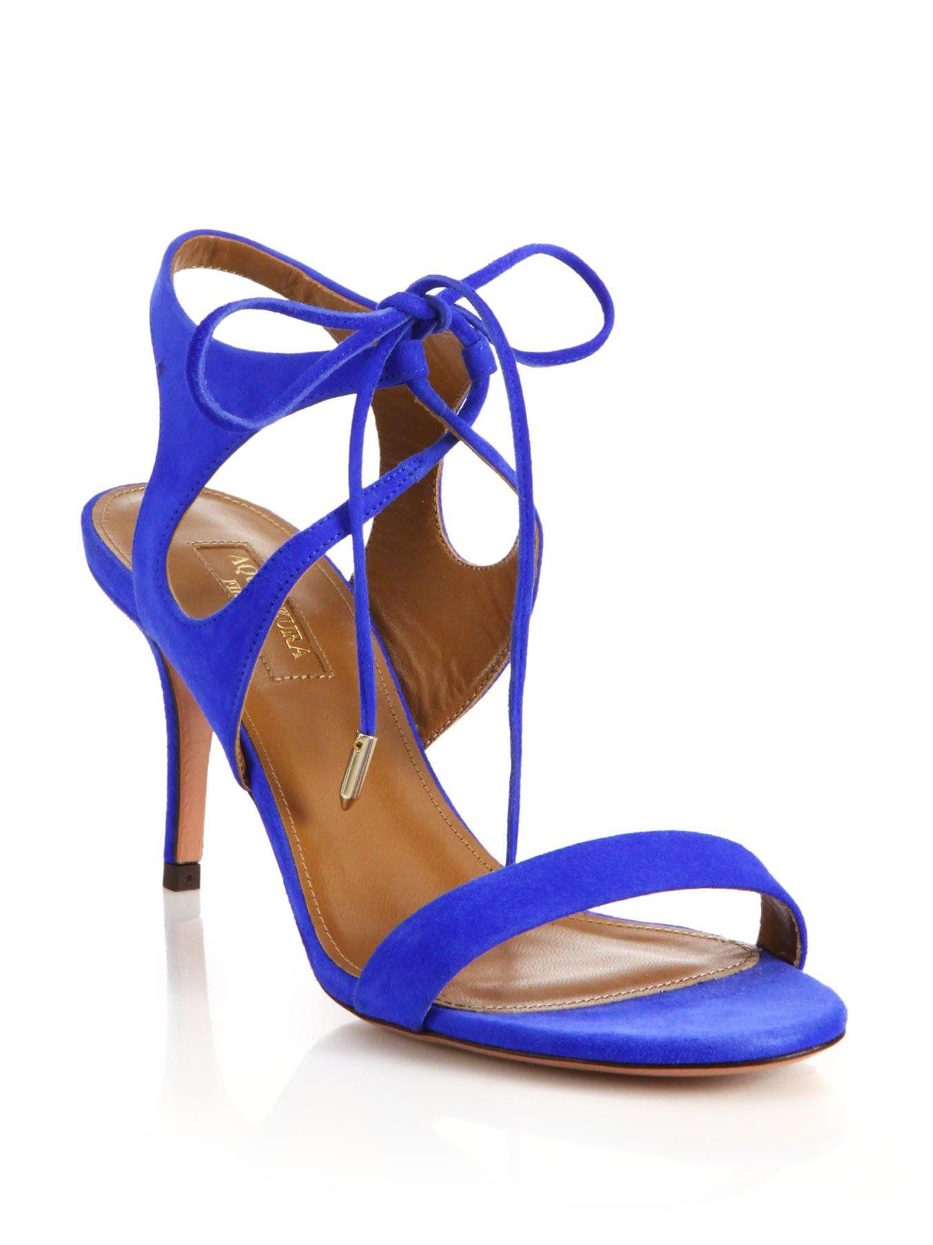 Aquazzura | Blue Colette Suede Lace-up Sandals | Lyst