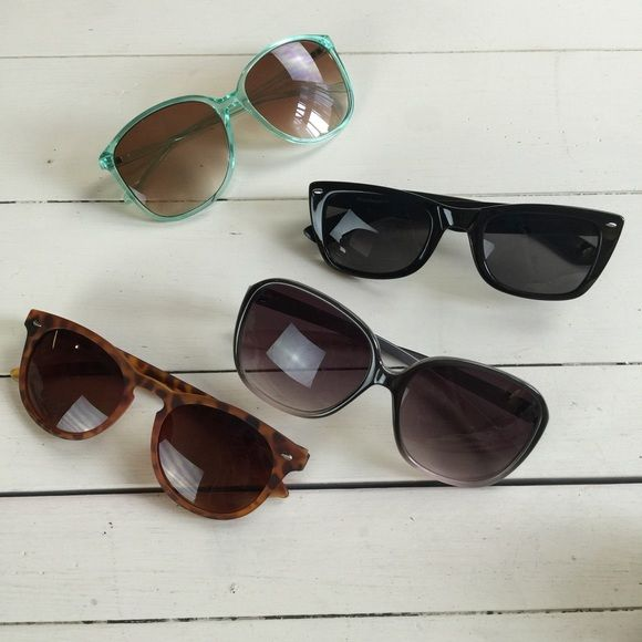 4-pack of Sunnies! Bundle of 4 pair sunglasses. One minor scratch on the ombré pair but not noticeable. #Coachella Accessories Sunglasses
