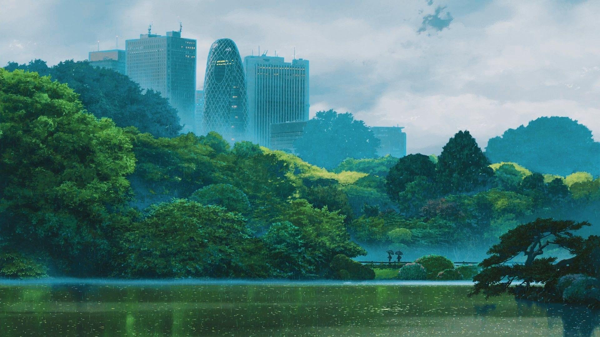 1920x1080 Garden Of Words Makoto Shinkai Kotonoha No Niwa Garden Of Words Anime Scenery Anime Background