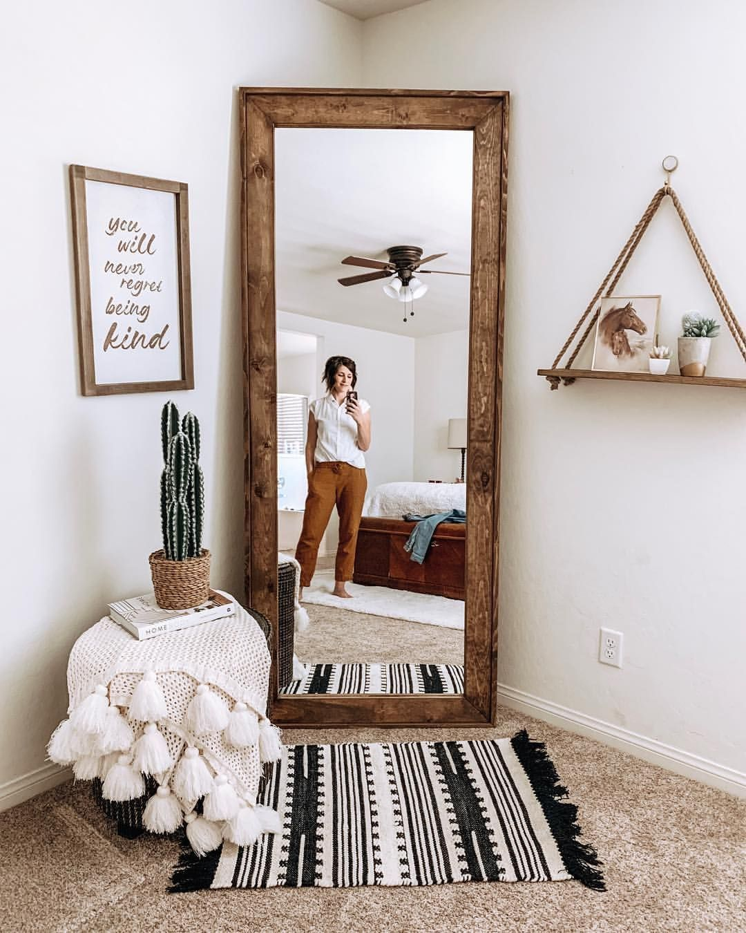Photo of Mirror. Wooden mirror. Full-length mirror. Bed room. Main bedroom. Boho farmhouse – World Best #Diy Blogs