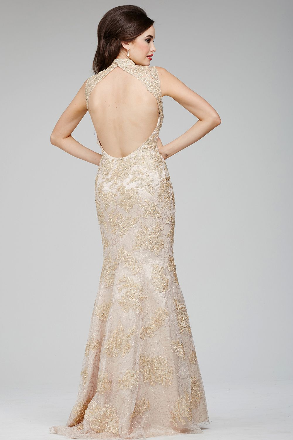 Lace assumes high class elegance in the exquisite jovani