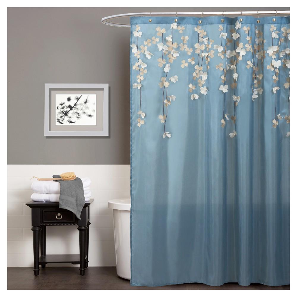 Flower Drops Federal Shower Curtain Blue White Lush Decor Blue