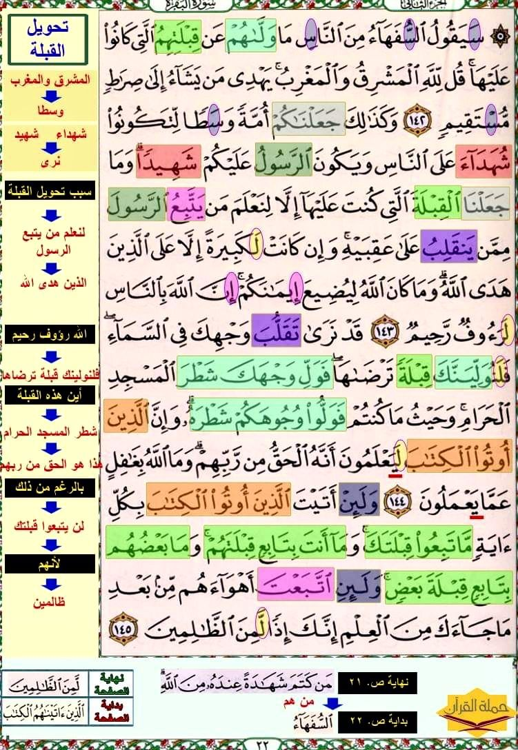 تثبيت حفظ سورة البقرة صفحة ٢٢ In 2021 Quran Verses Verses Quran