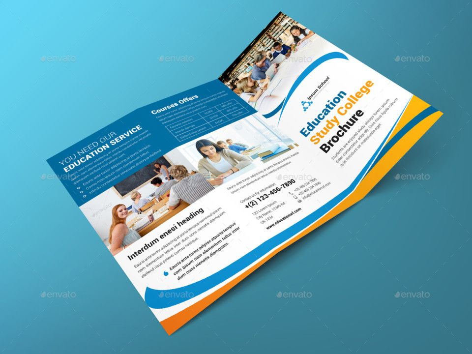 Tri Fold Education Brochure Template  School Brochure Template