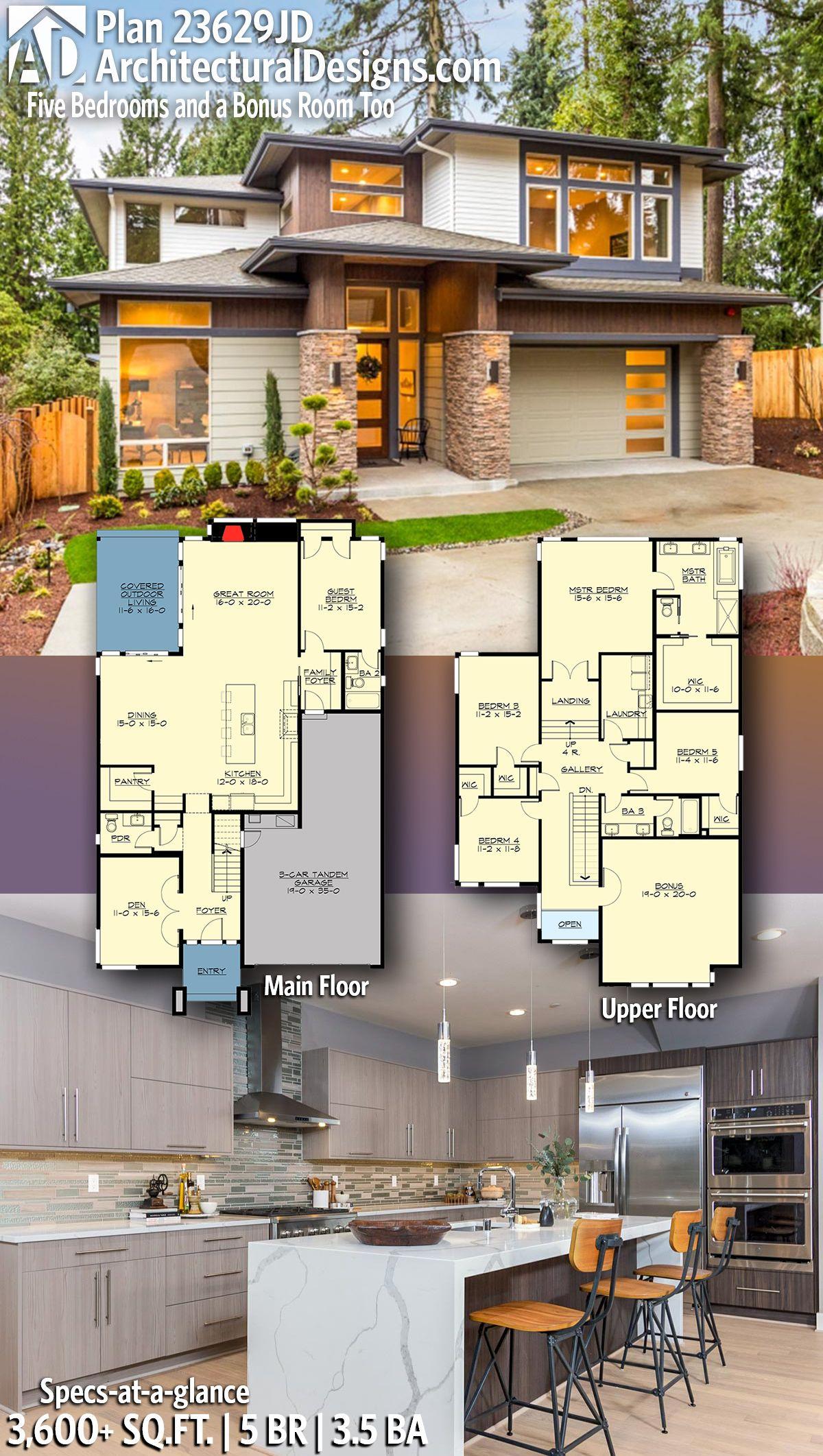 Plan 23629jd Five Bedrooms And A Bonus Room Too Architectural Design House Plans Modern House Plans Modern House Design