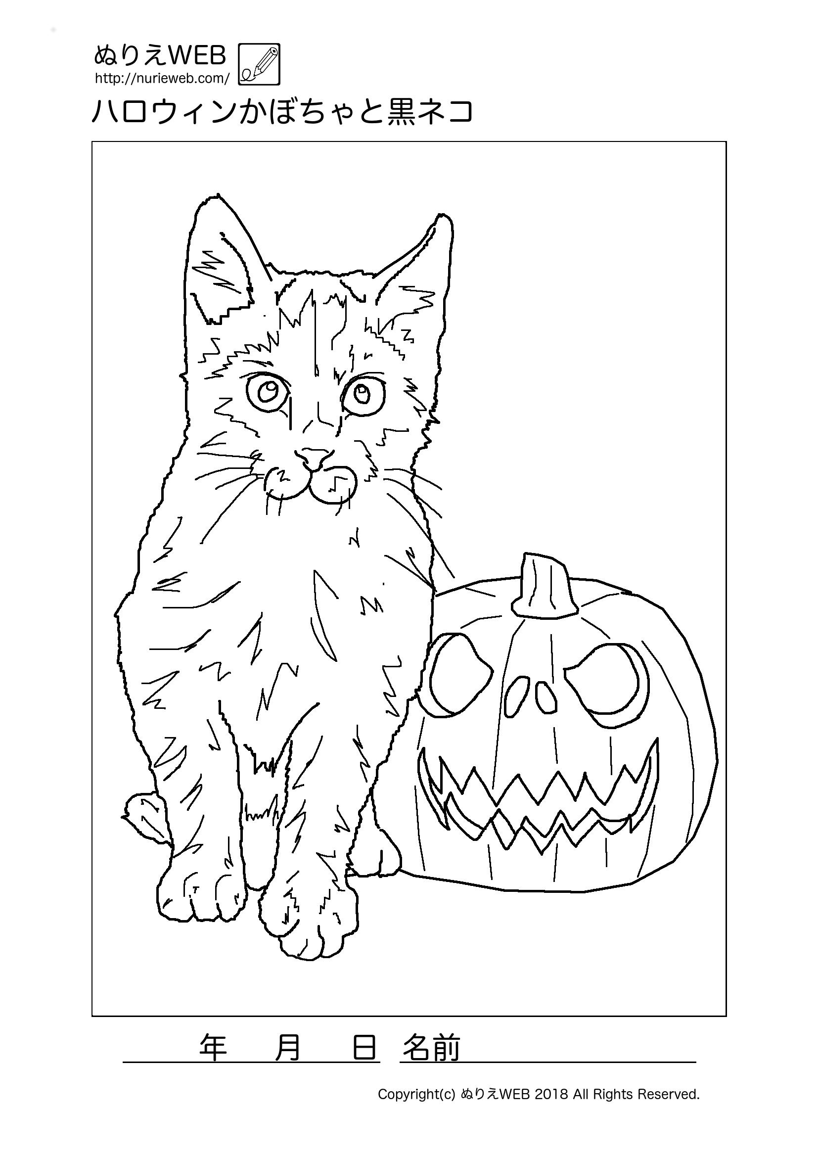 ぬりえwebハロウィンかぼちゃと黒ネコの塗り絵 ぬりえweb