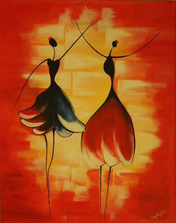 Abstract Acrylic Canvas Painting Stick Figure By WinsomeArtGallery - Abstract art canvas painting ideas