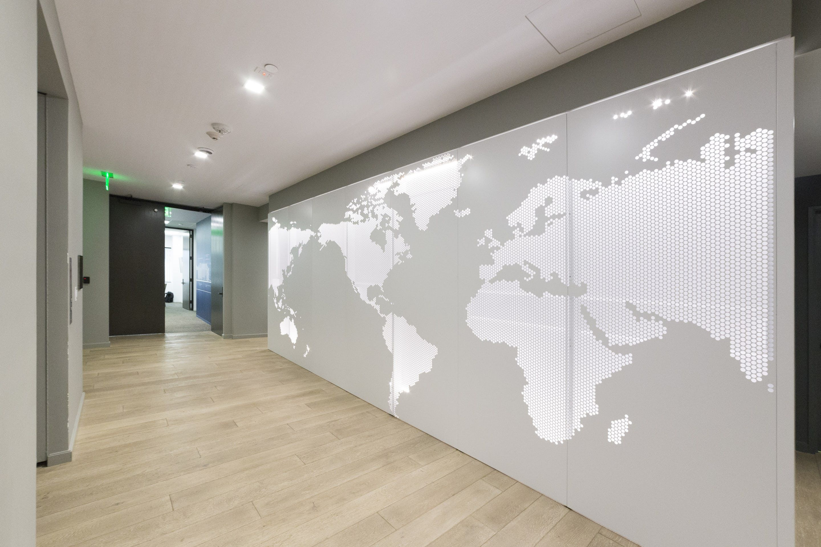 Perforated Aluminum Map On An Interior Wall For Lineage Logistics