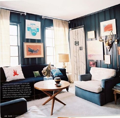 Navy paneling on the walls gives this office den a cottage for Living room navy walls