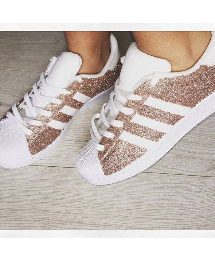 half off c9b4c a4eae Adidas Superstar Rose Gold Stripe Shoes Sale UK