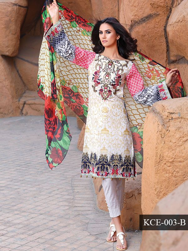 92e41c51c3 4 PCs Digital Printed Lawn Suit with Embroidery and Pure Chiffon Dupatta  and dyed Lawn Trouser