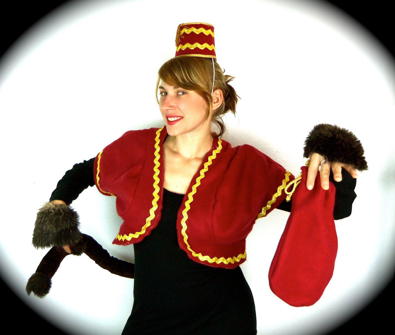 adult size circus monkey costume hat bolero jacket tail hand fluffs - Halloween Monkey Costumes