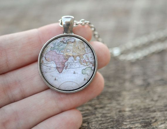 World map necklace antique map necklace globe necklace wedding world map necklace antique map necklace globe necklace gumiabroncs Choice Image