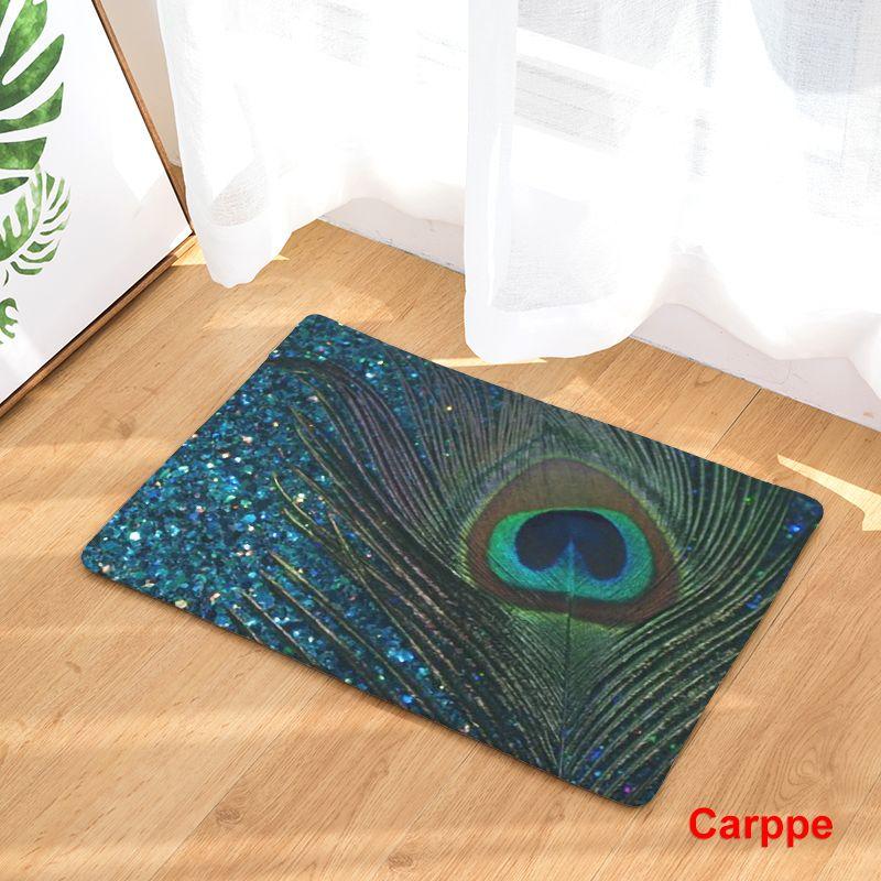 New Anti-Slip Carpets Feather Print Mats Bathroom Floor ...