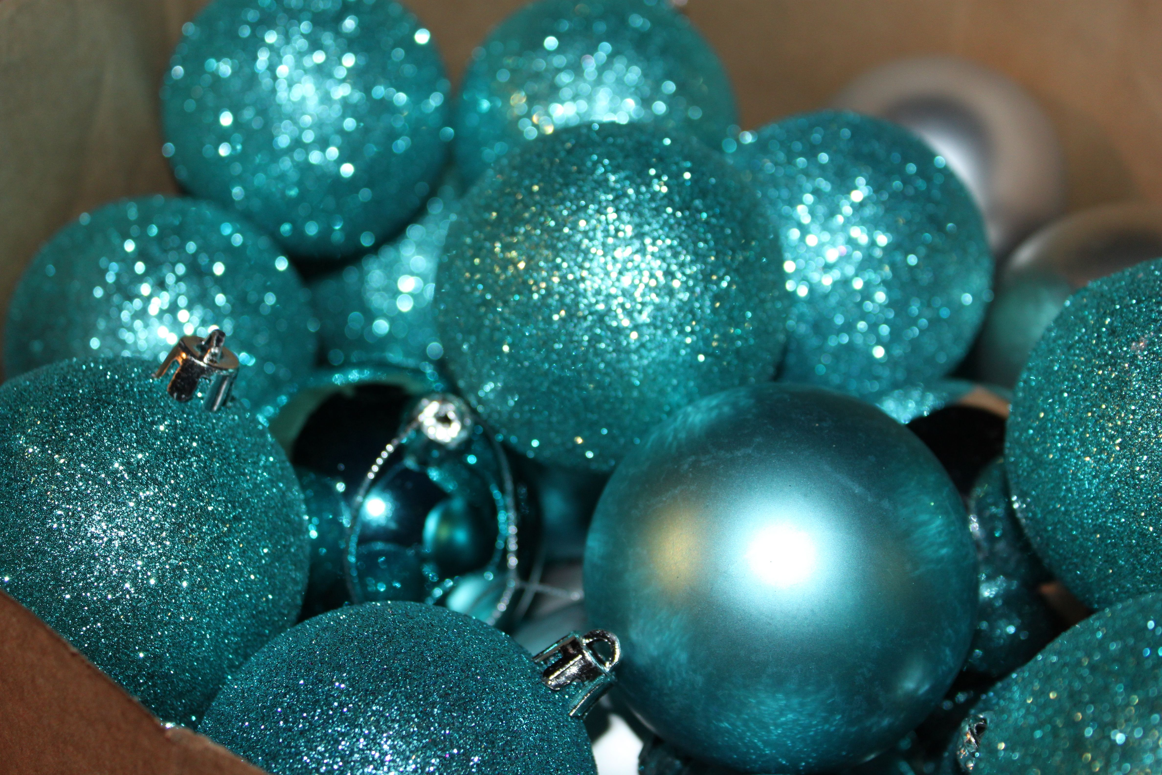 12 HANDMADE CHRISTMAS ORNAMENTS MADE WITH BLING BLUE SILVER AND TEAL