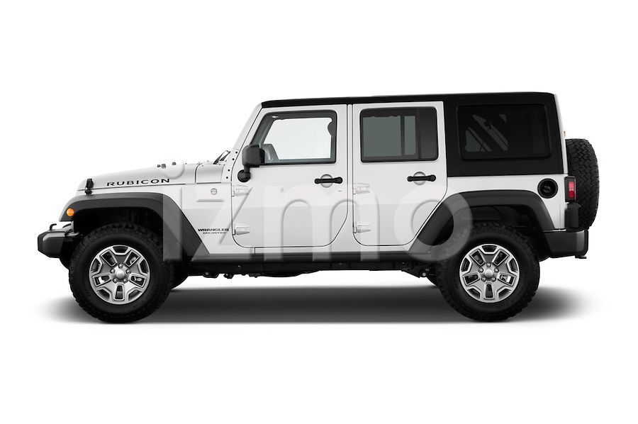 Side View Of Silver 2013 Jeep Wrangler Unlimited Rubicon Suv