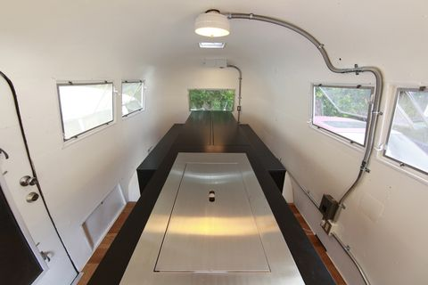 Renovated Kenchikukagu Airstream Atelier OPA Kitchen closed beds closed