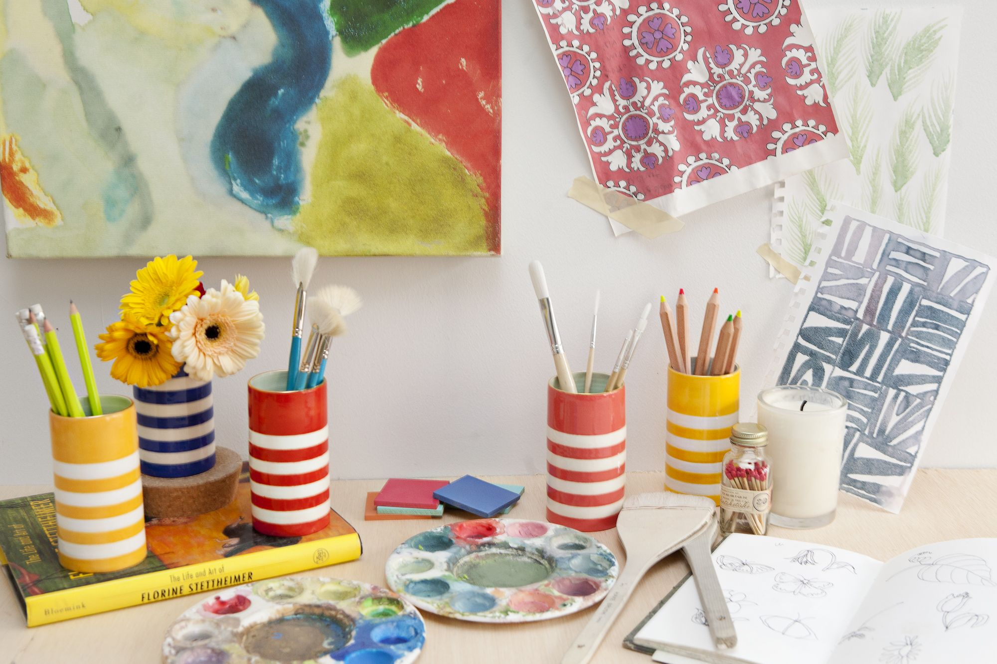 Artists studio jills colorful style pinterest ceramic vase jill rosenwald handmade ceramic vases lamps and trays painted patterns in chic colorways topped with gold edging reviewsmspy