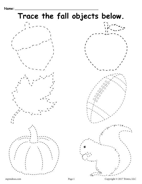 FREE Printable Fall Tracing Worksheet – Free Traceable Worksheets